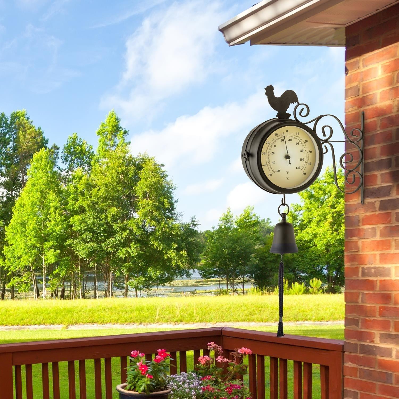 Blumfeldt Early Bird Reloj Exterior estacion de Tren Antigua (Ø12cm diámetro, termómetro Retro Grados Celsius y Fahrenheit, Campana jardín, Resistentes Mal Tiempo, Montaje Pared, Negro): Amazon.es: Hogar