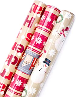 Hallmark Reversible Christmas Wrapping Paper Bundle, Kraft and Red, Merry Holidays (Pack of 3; 120 sq. ft. ttl.)