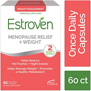 Estroven Menopause Relief and Weight | Multi-Symptom Menopause Relief* | Helps Reduce Hot Flashes + Night Sweats* | Helps Manage Weight* | Promotes Healthy Metabolism* | 60 Capsules