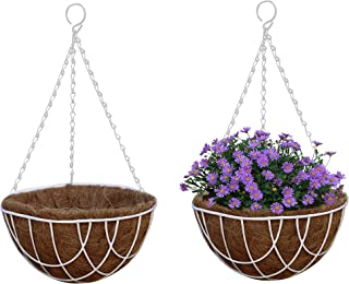 TABOR TOOLS Metal Hanging Planter Basket with Natural Coconut Coir Liner, Water Saving Hanging Flower Pot, Decor Hanging Basket, Chain and Hook Included.2-Pack MT2103A(12'' Wire, White)