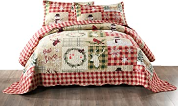 TT LINENS 3 Piece Rustic Lodge Deer Quilt Christmas Quilt Quilted Bedspread Printed Quilt..