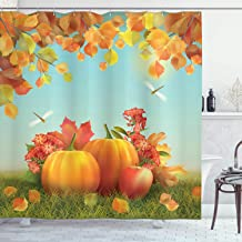 Ambesonne Harvest Shower Curtain, Fall Season Yield Thanksgiving Image Fallen Leaves Branches Pumpkins, Cloth Fabric Bathroom Decor Set with Hooks, 75