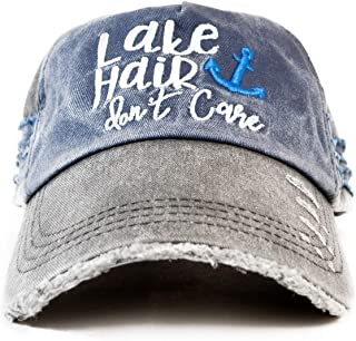 KoozieMate Lake Hair Don't Care Hat- Ladies Distressed Cap -2 Tone Black and Blue- Perfect Cap for Lake Hair-Lake Life- Lake Life Apparel- Ladies Fishing Cap- Perfect for Any Time On The Beach