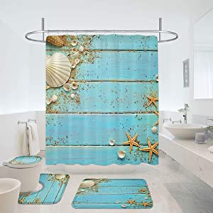 MitoVilla Coastal Beach Shower Curtain Set for Summer Ocean Themed Bathroom Decor, Seashell and Starfish on Aqua Wooden Borad Bathroom Sets with Shower Curtain and Bath Mats Rugs and Toilet Lid Cover
