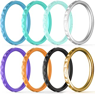 Thin and Stackable Silicone Rings, 8 Rings / 4 Rings / 1 Ring - Silicone Wedding Bands for Women - Diamond Pattern - Width 2.5mm - Thickness 2mm