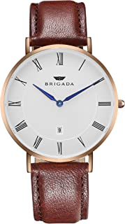 BRIGADA Minimalist Casual Watch For Men, Brown Genuine Leather Rose Gold Business Casual Men's Wrist Watch