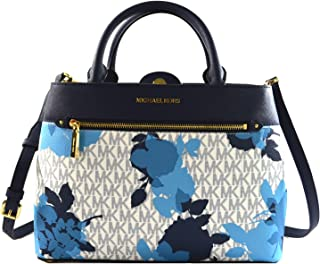 f374da346e05 MICHAEL Michael Kors Women's HAILEE Medium Satchel Leather Handbag (Navy)