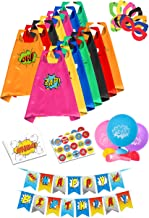 Superhero Capes for Kids Toys - Super Hero Birthday Party Supplies - Dress Up Clothes for Boys and Girls – Pinata Heroes Costumes, Masks, Stickers, Balloons and Banner Favors Set (14 Pack)