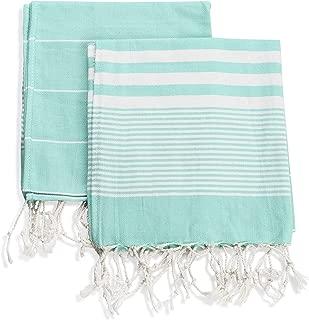 Ahenque Set of 2, Eco-Friendly Turkish Tea Towel, Dishclothes, Peshkir, Dish Towel, Kitchen Towel, Hand Towel, Size: 18″ x 40″ (Mint Green)