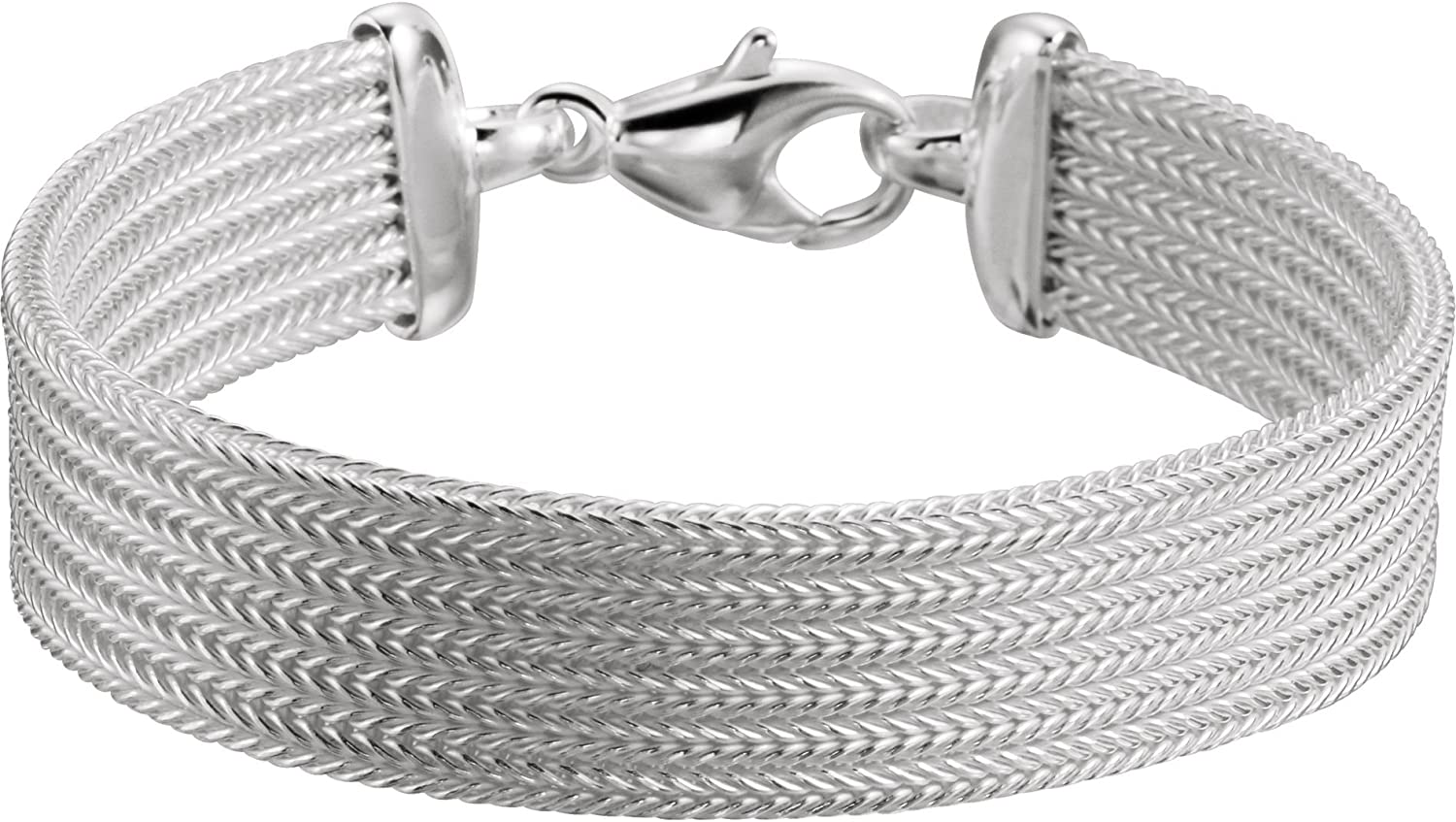 7 12 mm Foxtail Mesh Bracelet in Sterling Silver