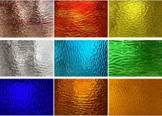 PALJOLLY 9 Sheets Stained Glass Sheets Transparent, 4 x 6 inch Cathedral Glass Colored Glass Assorted Colors for Stained G...