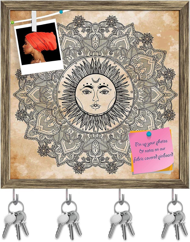 Artzfolio Sun Mandala Key Holder Hooks   Notice Pin Board   Antique golden Frame 20 X 20Inch