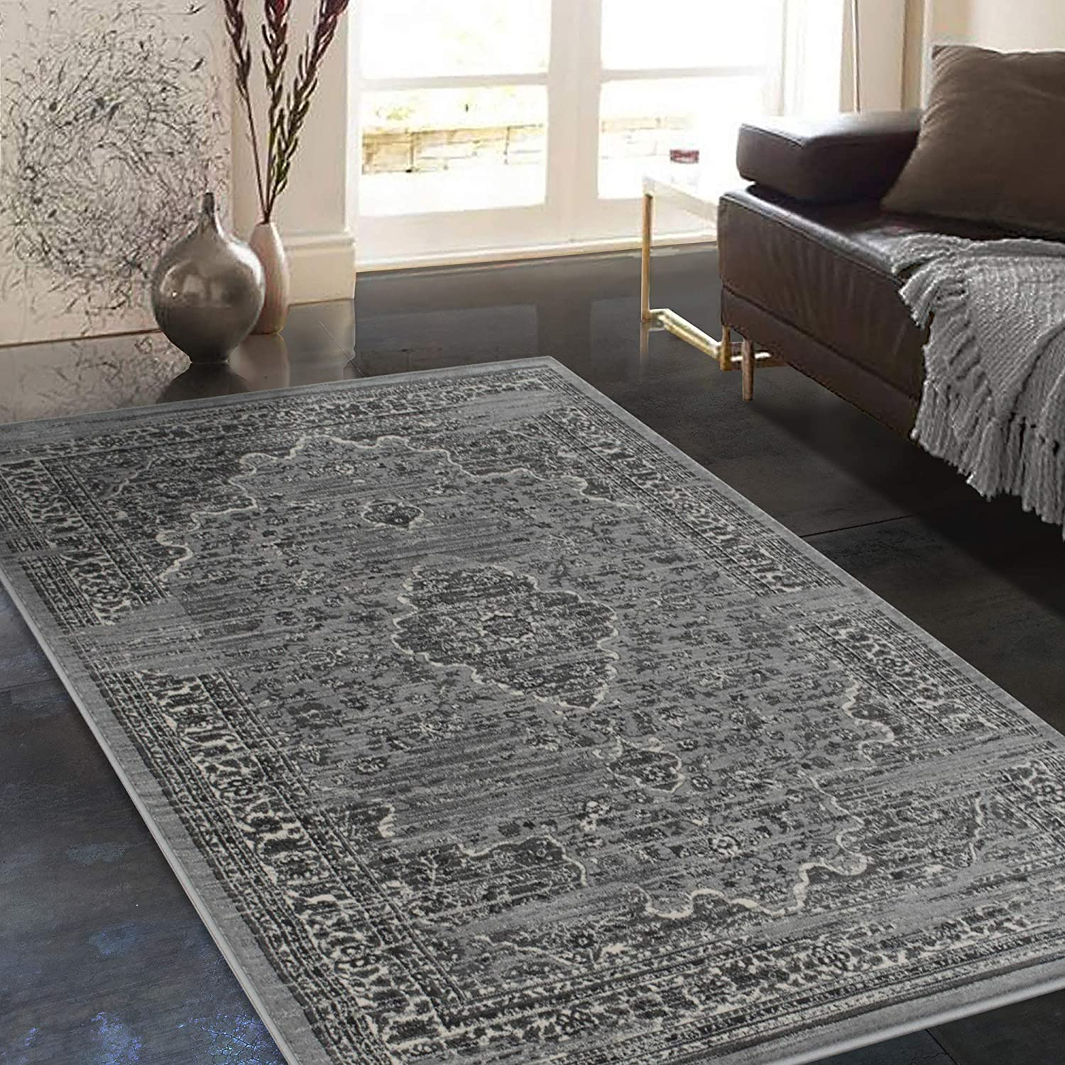 Shipping included Allstar 8x10 Modern Accent Rug Ash 40% OFF Cheap Sale 7' x 6