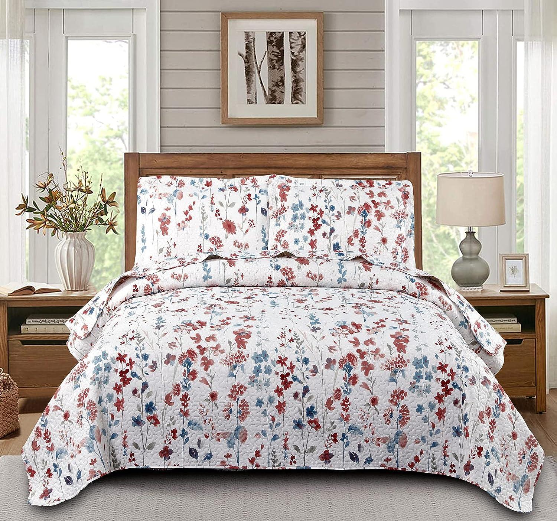 Floral Quilts Set Lightweight Home Summer Bedspreads Full/Queen
