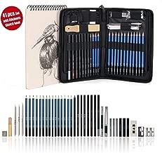 AGPtek 41pzas Set de Dibujo para Hacer Bocetos, Estuche de Lápices Gráfito con Cuaderno de Bocetos(60 Hojas), Incluye Tizas Borradores etc, Perfecto para Viaje, Excelente para Principantes