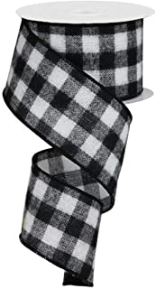 "Flannel Check Plaid Wired Edge Ribbon, 10 Yards (Black, White, 2.5"")"