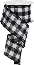 "Flannel Check Plaid Wired Edge Ribbon, 10 Yards (Black, White, 2.5"")"