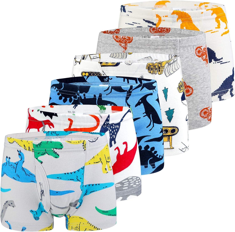 Auranso Toddler Boys Cotton Boxer Briefs Underwear Dinosaur Car 6 Pack 2-11Y