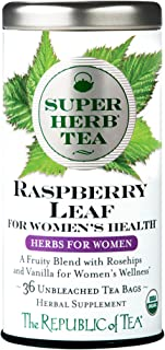 The Republic of Tea Organic Raspberry Leaf SuperHerb Tea For Women's Health, 36 Tea Bags
