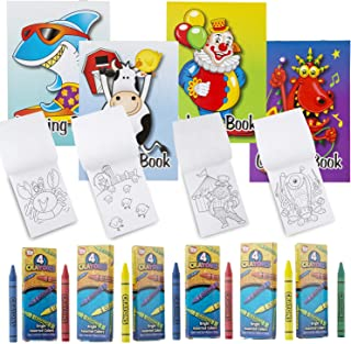 Favonir Assorted Coloring Books And Crayons 24 Pack – Artistic Stationary Designs For Kids Activity – Ideal For School, Ho...