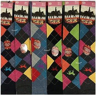 Rozgul, Calcetines térmicos para mujer y mujer, diseño de caballo, de algodón rico, para botas de equitación de algodón, 3 pares