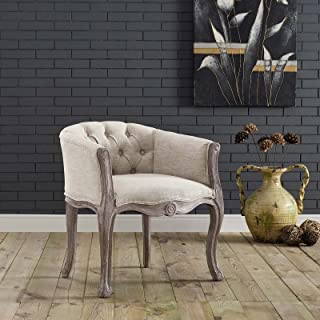 Modway Crown French Vintage Barrel Back Tufted Upholstered Fabric Kitchen and Dining Room Arm Chair in Beige - Fully Assembled