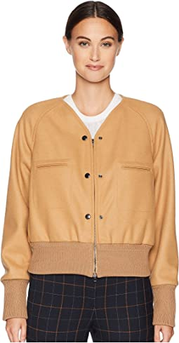 Short Blouson Double Fastening Coat with Front Pockets