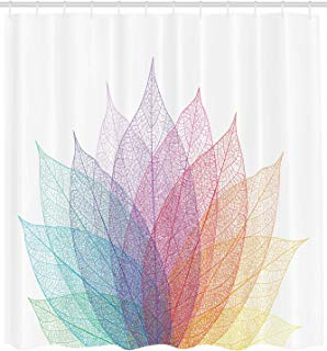 """Ambesonne Abstract Shower Curtain, Leaf Abstract Artwork 4 Season Flora Delicate and Nature Theme, Cloth Fabric Bathroom Decor Set with Hooks, 84"""" Extra Long, Turquoise Purple"""