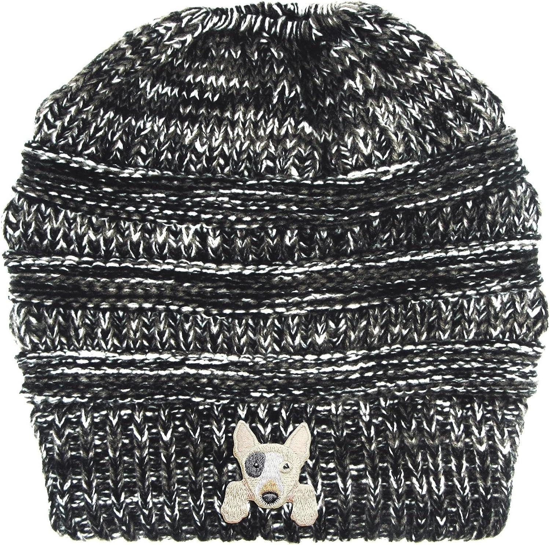 Lhotse Bull Retriever Embroidered Puppy Dog Series Beanie  Stretch Fleece Cable Knit High Bun Ponytail Skullies Hat Cap  Black White Mix