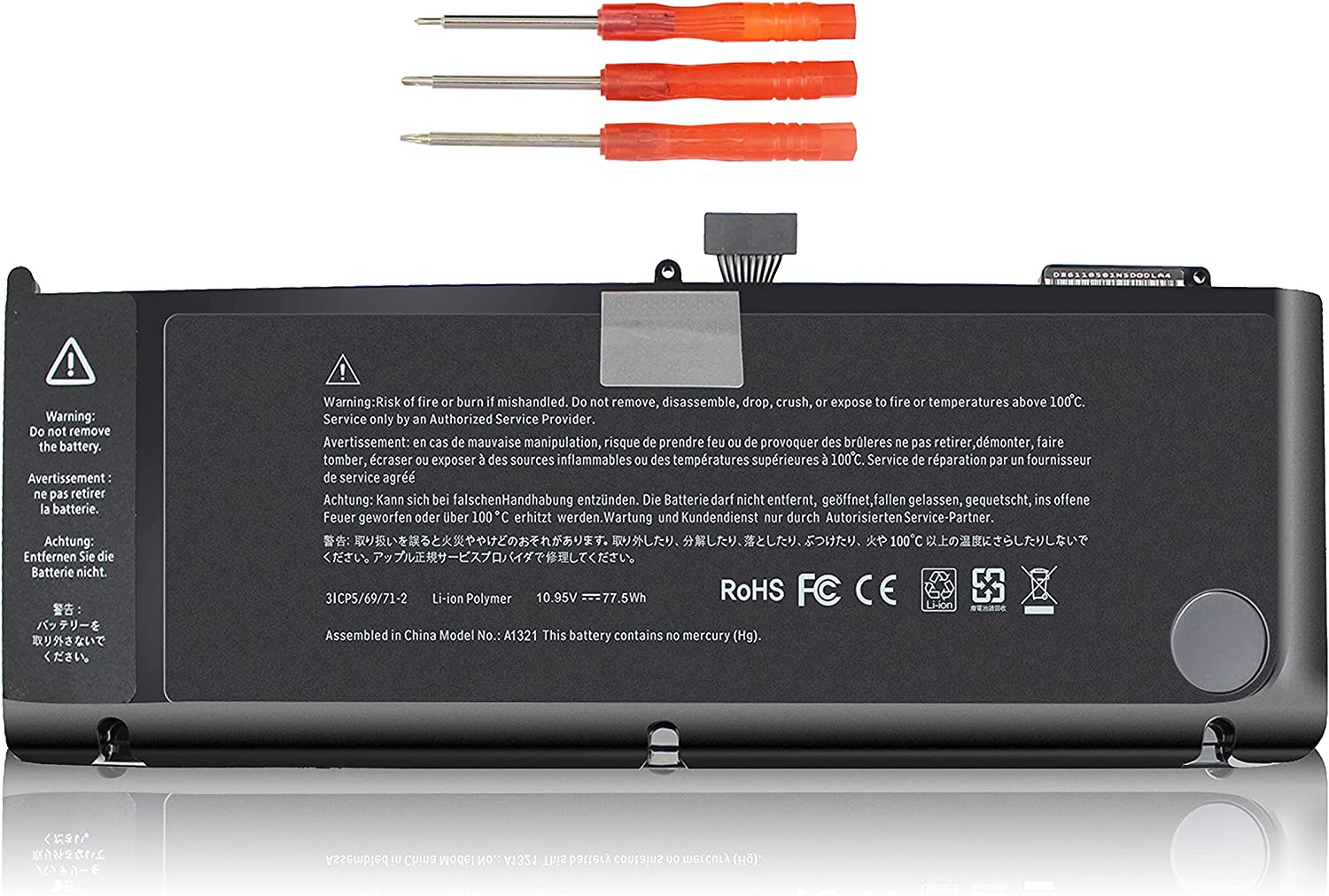 Shareway A1321 Laptop Battery for MacBook Pro 15 inch A1286 (Mid 2009 Early/Late 2010 Version) MC118 MC371 MC372 MC373 MB985 MB986 020-6766-B 020-6380-A 661-5211 661-5476 3ICP5/81/77-2 10.95V/77.5WH