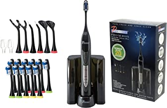 PURSONIC S520 Black Ultra High Powered Sonic Electric Toothbrush with Dock Charger, 12 Brush Heads & More! (Value Pack)