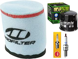 Tune Up Kit Pre-Oiled Air Filter Oil Filter Spark Plug for Suzuki King Quad Eiger 400