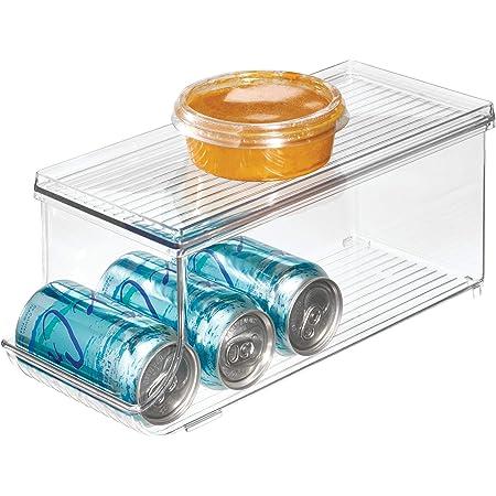 "iDesign Fridge Binz BPA-Free Plastic Beverage Can Organizer with Lid - 13.84"" x 5.7"" x 5.8"", Clear"