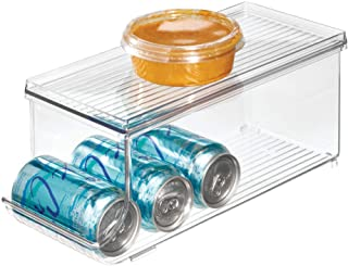 iDesign Caja organizadora para frigorífico con tapa, organizador de nevera de plástico para 9 latas de bebidas, organizador de cocina para conservas, transparente
