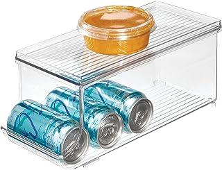 iDesign bac rangement frigo à couvercle, petite boîte conservation alimentaire en plastique pour neuf canettes, boîte alim...