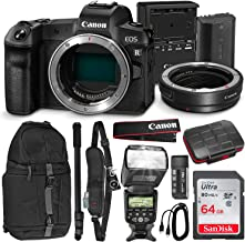 Canon EOS R Full-Frame Mirrorless Digital Camera (Body Only) with Canon Mount Adapter EF-EOS R, Backpack, Strap, Flash, Monopod, and 64GB Deluxe Travel Photo Bundle