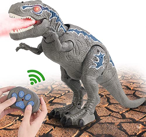 lowest FANURY Remote Control Dinosaur Toys high quality for 3-12 Year 2021 Old Boys Girls, LED Light Up Walking and Roaring Realistic T-Rex Dinosaur Toy with Glowing Eyes Projection Spray Function for Kids Gifts Age 3+ sale