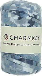 Charmkey Camouflage Print Yarn 6 Super Chunky Natural Soft Cotton Blend Ribbon T Shirt Yarn Elastic Knitting Cloth Fabric for Bags Cushion DIY Handicraft, 1 Skein, 7.05 Oounce (Ocean Sea)