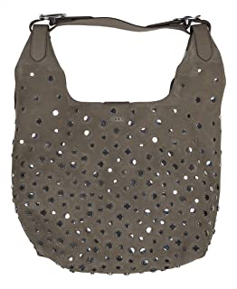 DKNY Wes Studded Genuine Suede Hobo Bag Purse