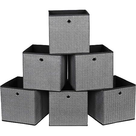 SONGMICS Lot de 6 Boîtes de Rangement, Coffre, Panier, Corbeille, Organisateur de Jouets, 30 x 30 x 30 cm, en Tissu Non-tissé Imitation Lin, Noir RFB002B01