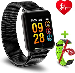Color Screen Fitness Tracker, Activity Smart Bracelet Wrist Band with Weather Forecast,Heart Rate Monitor,Step Calorie Counter,IP67 Waterproof Pedometer Smartwatch