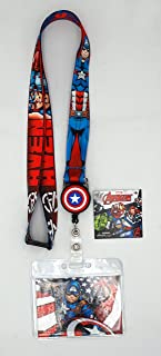Marvel 68844 Captain America Lanyard with Zip Lock Card Holder, Multi Color