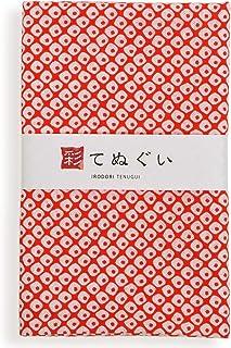 彩(irodori) 小紋手ぬぐい 鹿の子(朱色) ほつれ防止加工なし 33×90cm TE-06137-IR