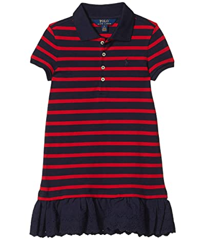 Polo Ralph Lauren Kids Eyelet Stretch Mesh Polo Dress (Little Kids) (RL 2000 Red/Hunter Navy) Girl