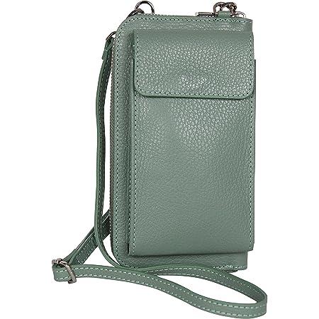 AmbraModa GLX21 - multifunktionale Damen Handytasche, Umhängetasche, Geldbörse aus echtem Leder, geeignet für Handys bis 6,5 Zoll