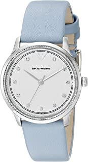 ساعة يد مرصعة بالكريستال من الستانلس ستيل للنساء من امبوريو ارماني