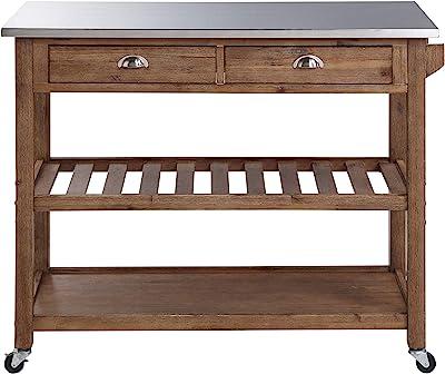 Amazon Com Casual Home Kitchen Island With Solid American Hardwood Top Walnut Furniture Decor