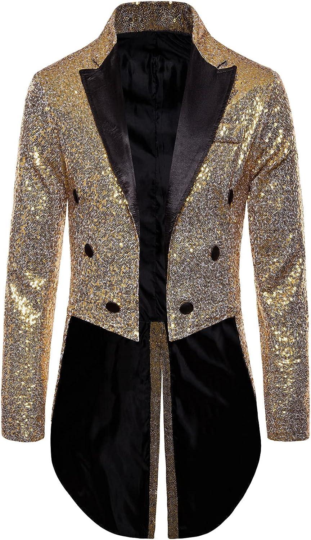 Men's Sequin Jacket Coat Metallic B Long High quality Nightclub Zipper Sleeve Charlotte Mall