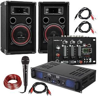 DJ Juego de PA DJ-14 BT - Amplificador de PA , Mesa de Mezclas BT , Pareja de Altavoces , Micrófono de Karaoke , Lote de Cables de conexión