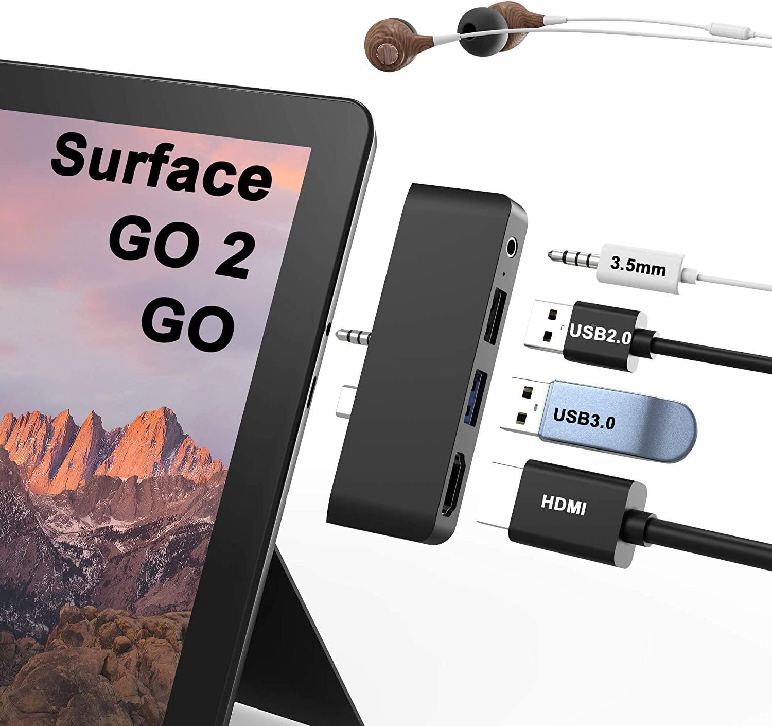 Surface Go Hub, Surface Go 2 Docking Station 4-in-2 USB C 3.5mm Earphones Jack, 4K30HZ HDMI Adapter USB 3.0&USB 2.0 for Microsoft Surface Go 2 Dock Accessories